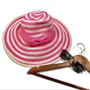 Kate spade pink striped bow floppy sun hat